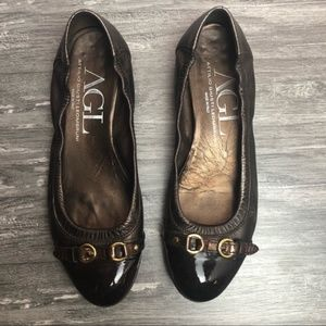 AGL Brown Leather Cap Toe Ballet Flat Slip On Shoe